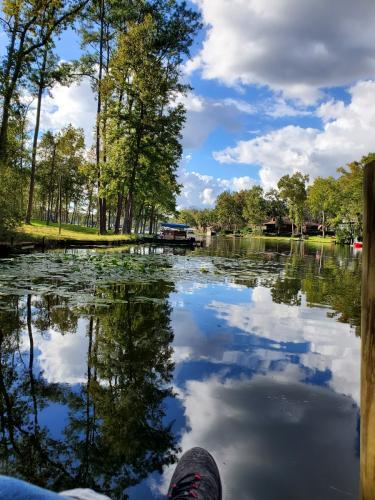 Clouds mirror on lake
